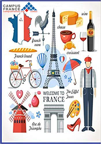 Une banière publicitaire faisant référence à welcome to france, bienvenue en France, promotion de la destination france avec un logo Campus France Organisme de gestion des études en France