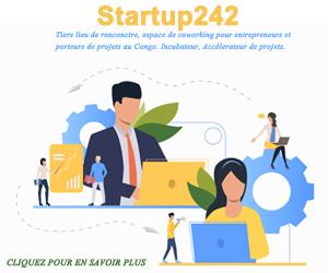 Une banière publicitaire de startup242 espace de cowroking, tiers de lieu de rencontres, pour entrepreneurs et porteurs de projets au Congo Brazzaville